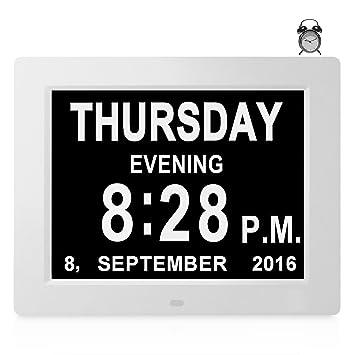 8 Idiomas - Reloj Digital Calendario de Día Alarma Grande Despertadores Electrónicos Pérdida de Memoria Ancianos Sénior Demencia Alzheimer Visión Pacientes ...