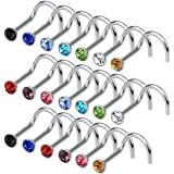 cnomg 20 pieces 316L Stainless Steel Rhinestone Nose Stud Rings Body Piercing- 10 Mixed Color 2.2 MM