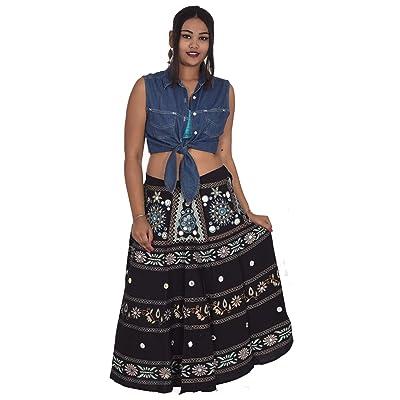 53dcf8a6a8e 100% cotton Indian Skirt Hippie Women Plus size Black color Floral Print  Mirror Work