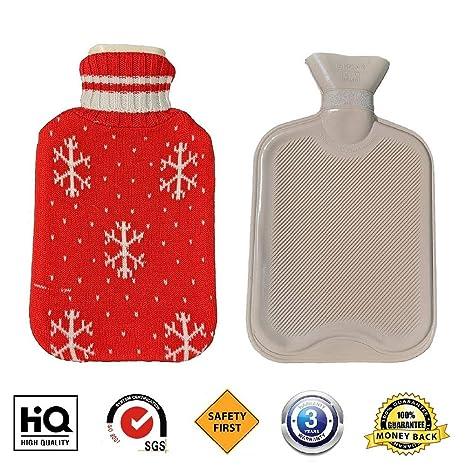 Bolsa de agua caliente con cubierta, Fontee bolsa para agua caliente gran capacidad de 2 litros, cubierta de diseño de copo de nieve de punto suave ...