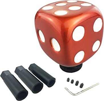 Arenbel Car Manual Knob Dice Stick Shift Knobs Shifting Shifter Handle fit Most Automatic Transmission Cars, Red, Black