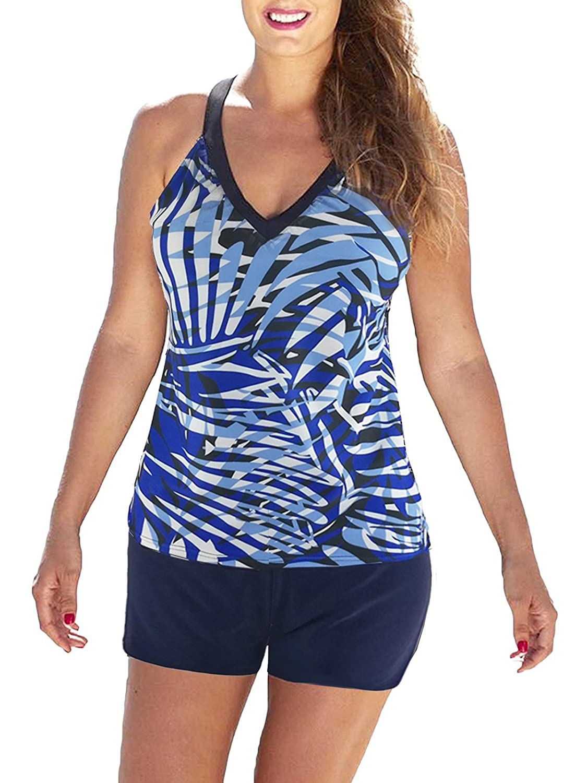 Zandoレディースアスレチックカジュアル水着プリントタンキニwithボーイショーツTwo Piece水着Unique Bathing Suit for Teens B0798LQKPX  ブルーブラック XL (US Size 10-12)