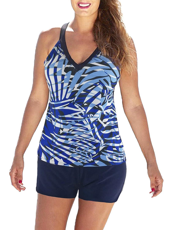 bluee Black Zando color Splicing Tankini Boyshort Swimsuit Two Pieces Stylish Sexy Bikini