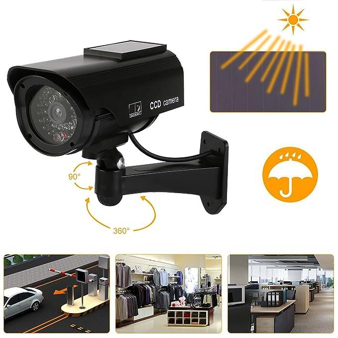 NONMON Juego de 4 cámaras de vigilancia con lámpara Solar Led Outdoor (Negro): Amazon.es: Bricolaje y herramientas