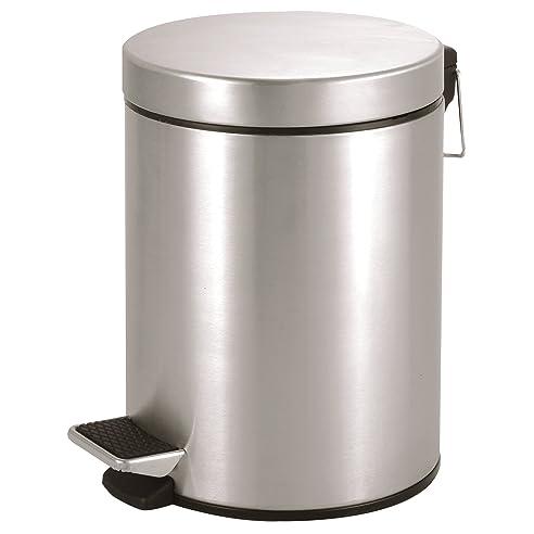 Treteimer 5 L Silberner Mülleimer Als Abfalleimer Kosmetikeimer Für  Badezimmer + Küche   Edelstahl Matt Mit
