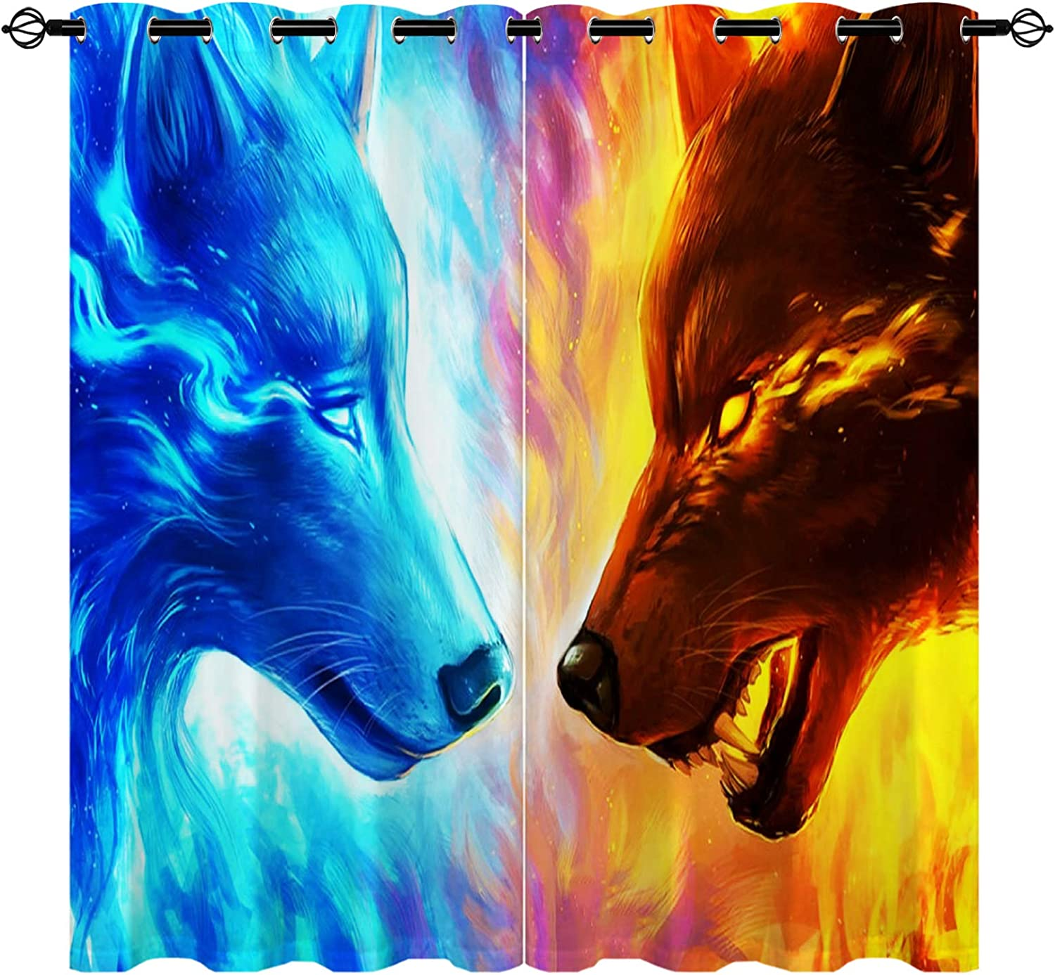 Wolf Curtains Sale price Galaxy Fire and 3D Ranking TOP20 Blacko Ice Pattern Grommet