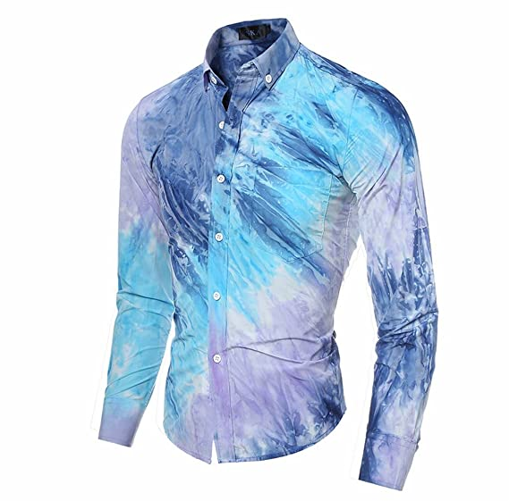 4bfa33e84214 Tasatific Men s Tie-Dye Printing Casual Long Sleeves Dress Shirts XS Blue