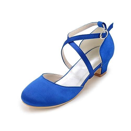 Plateado Seda es y y Noche Champaña YC Amazon Zapatos Tacón Primavera Chica Tacones Bajo complementos Azul Fiesta L Verano Rojo Boda Otoño qAROftzzcU