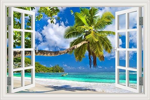 3D Window View Blue Tropical Wave Wall Sticker Art Decal