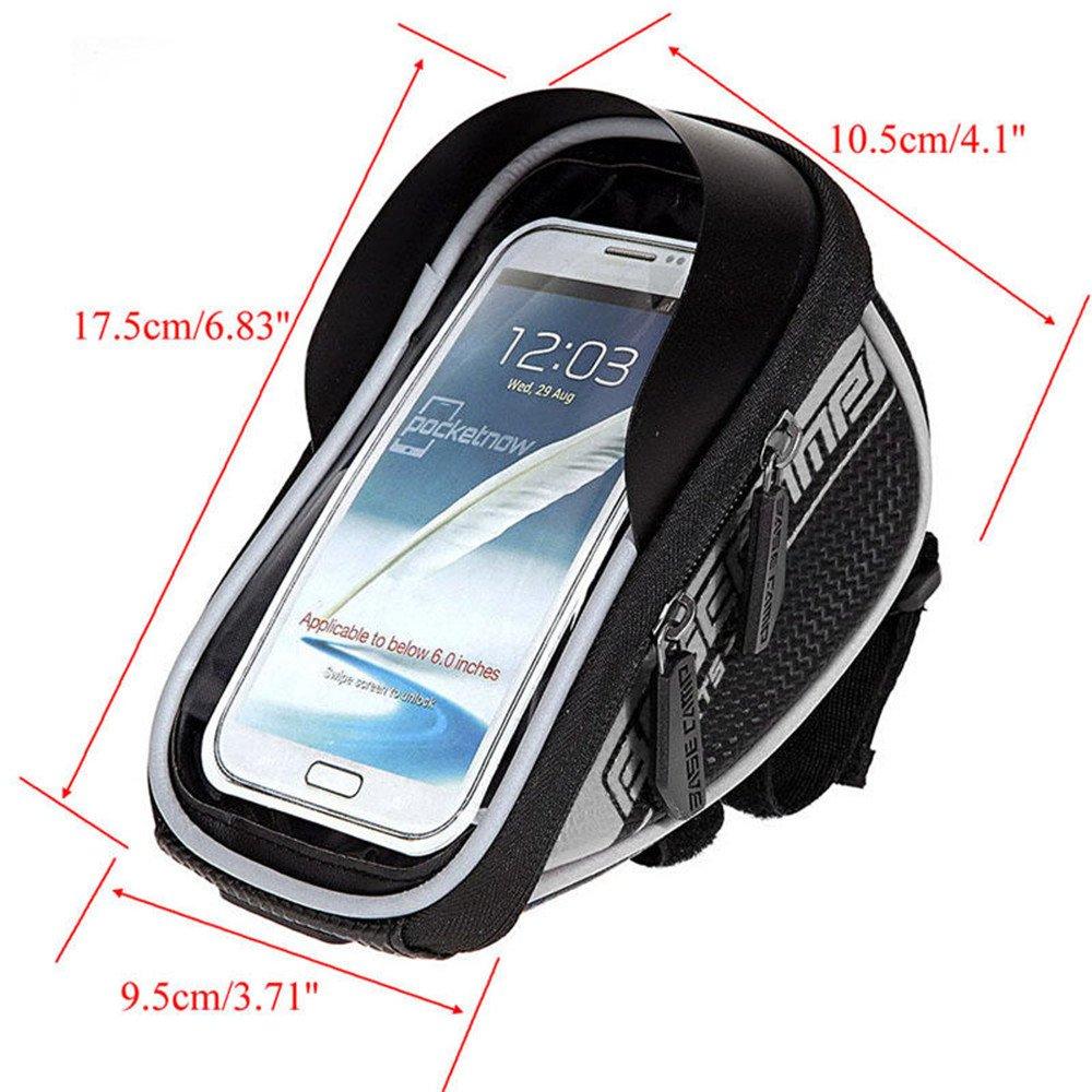 Handy-Tasche // Handy-Halterung f/ür den Fahrradlenker wasserdicht transparente PVC-Vorderseite f/ür das Display 5,5/Zoll f/ür Smartphones mit 13,97/cm