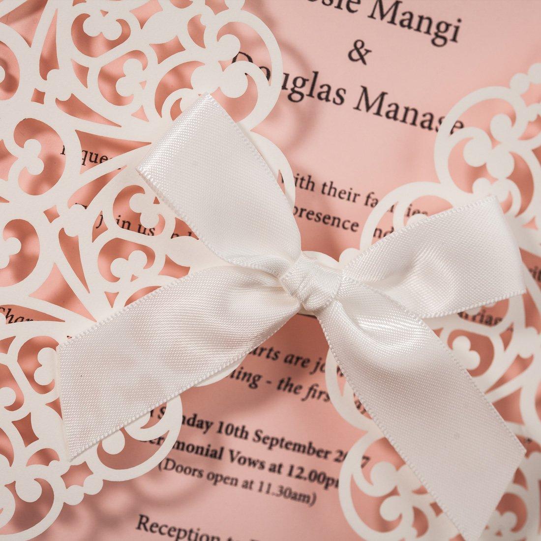 Amazon.com: Wishmade Laser Cut Wedding Invitations Square White and ...