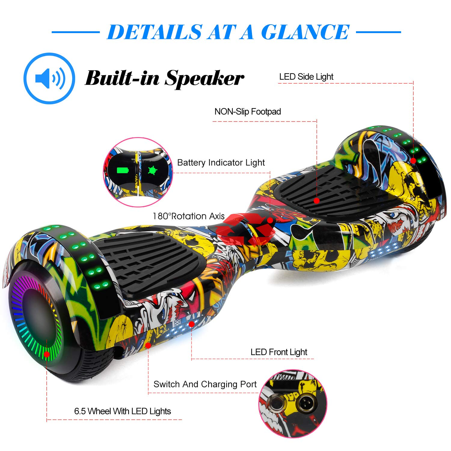 SWEETBUY Hoverboard Two-Wheel Self Balancing Electric Scooter UL 2272 Certified,6.5 inch Self Balancing Scooter with Carry Bag by SWEETBUY (Image #2)