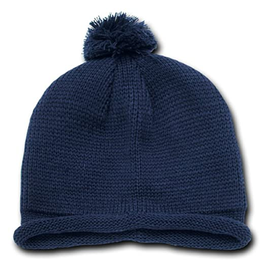 Amazon.com  Decky Roll Up Beanie with Pom on Top (One Size 60a0e8abf7f