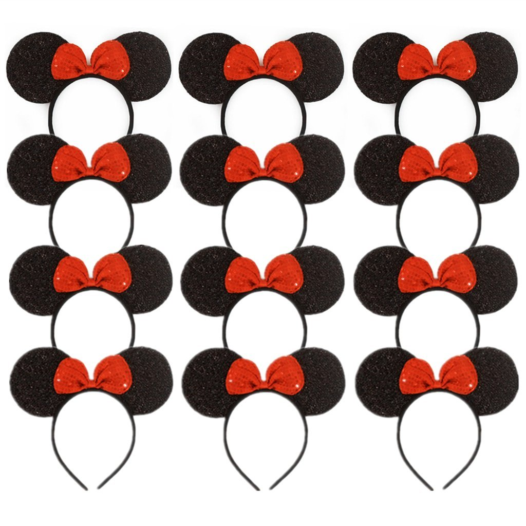 12 PCS all MINNIE SEQUIN RED BOW MICKEY MOUSE EAR HEADBANDS  FAVORS COSTUME