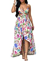 Women's Spaghetti Strap Floral Bohemia High Low Beach Club Maxi Party Dress