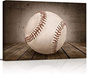 Canvas Print Wall Art - Rustic Baseball on Vintage Wooden Board - Wall Decor Modern Artwork Paintings Pictures for Living Room Stretched and Framed Ready to Hang - 12