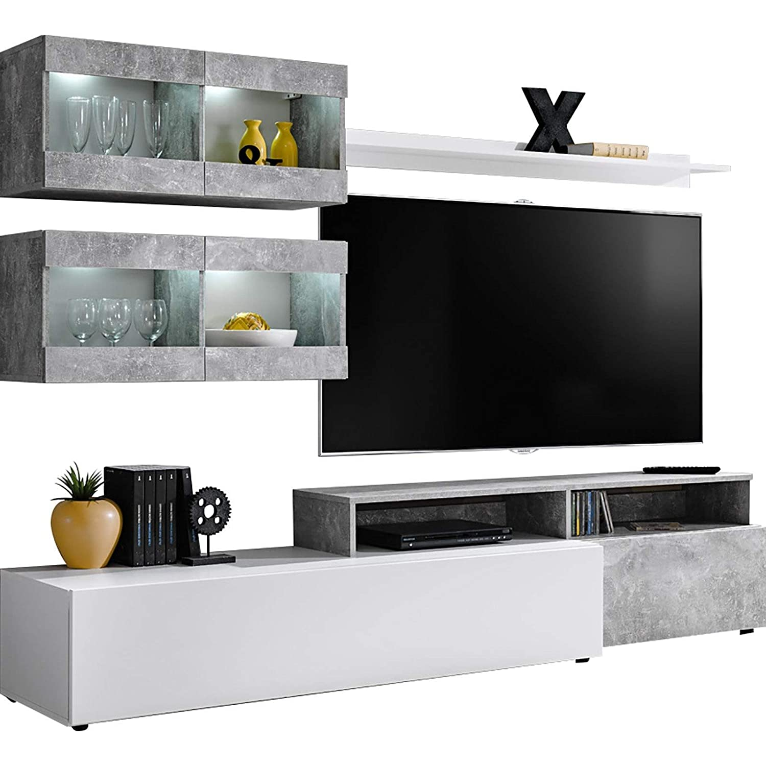 Amazon Domadeco Lowell modern media wall unit with tv stand