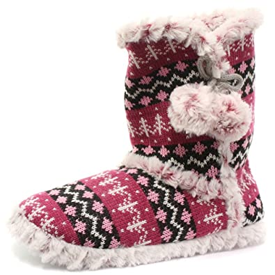 Footwear Studio Womens Knitted Dunlop Fluffy Soft Fur Cosy Warm Nordic Yeti  Boot Slipper Boots