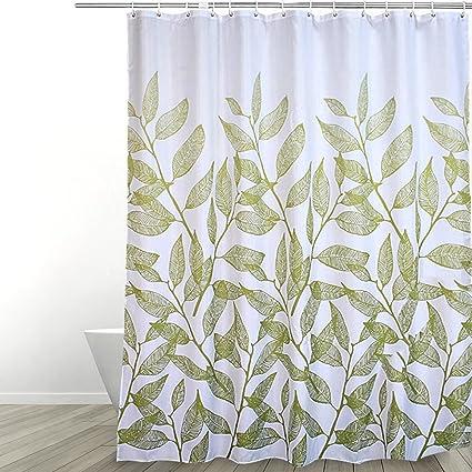 Eforgift Polyester Bathroom Shower Curtain Water Repellent Anti Bacterial Fabric Bath Elegant Spring Green