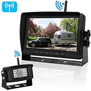 Emmako Digital Wireless Backup Camera High-Speed Observation System for Truck/RV/Trailers and 7'' Monitor Split Screen Kit IP69K Waterproof Night Vision Rear/Side/Front View Camera Driving/Reversing