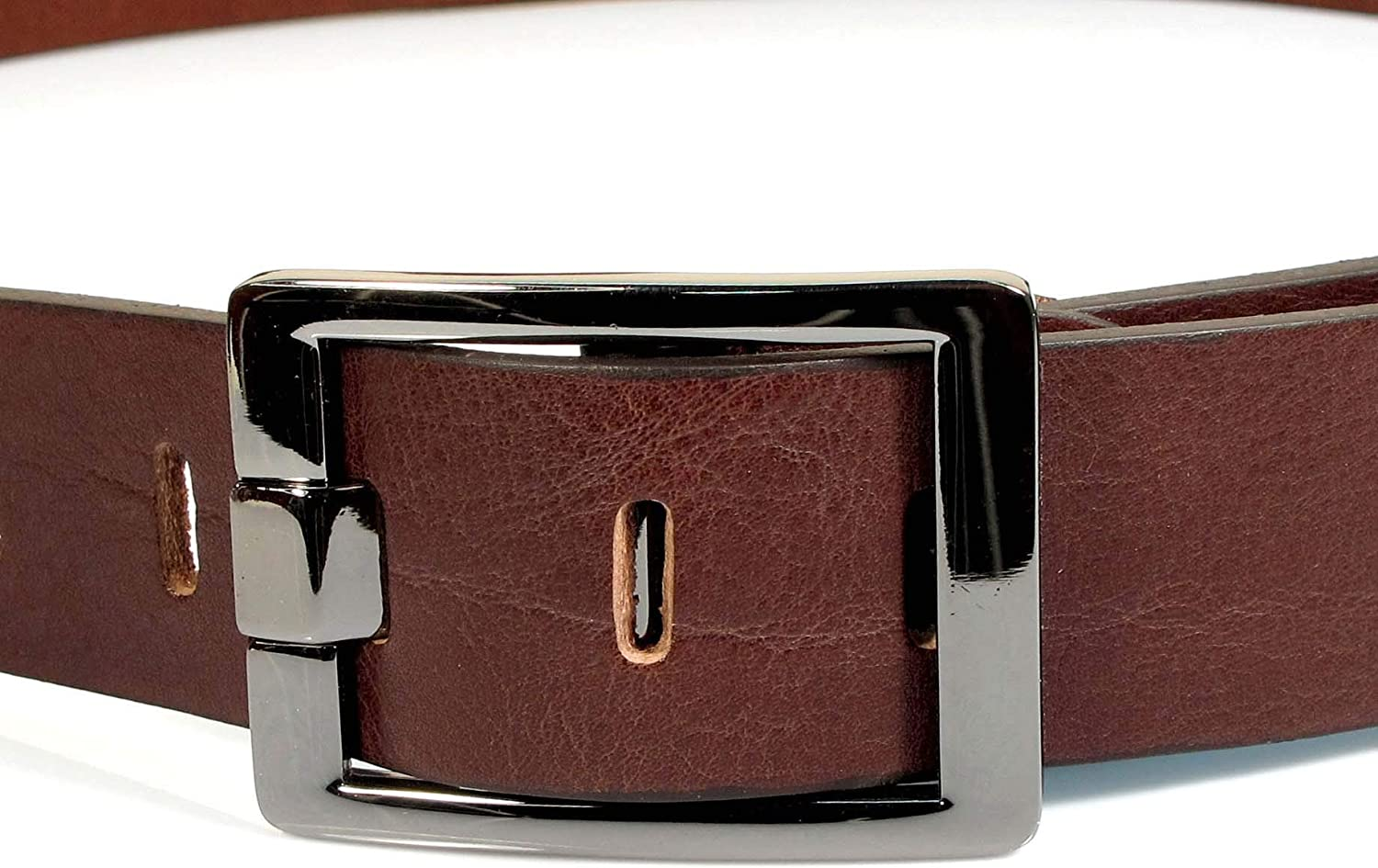 CM0 Mens Real Genuine Leather Dark Brown Belt 1.5 Wide S-XL Thick Casual Jeans