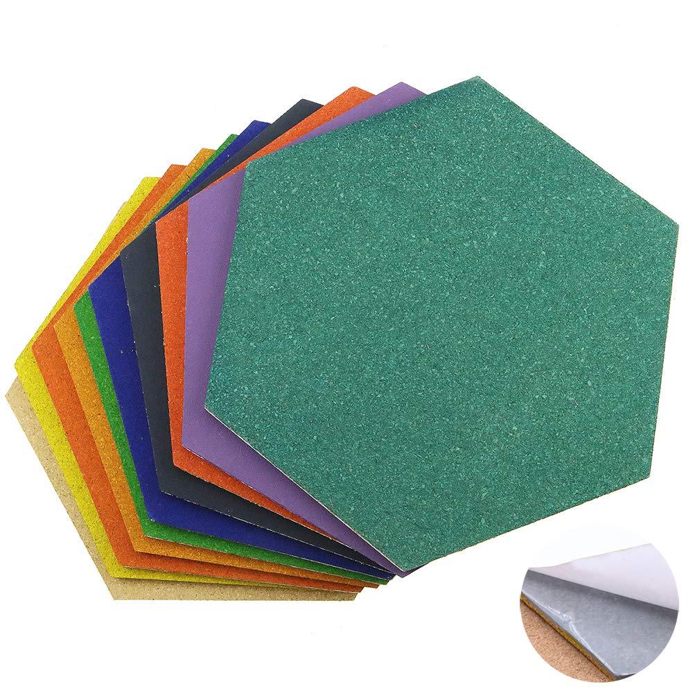 Esagono bacheca in sughero, piastrelle, mattonelle, autoadesive, multicolore, 10pezzi LFS