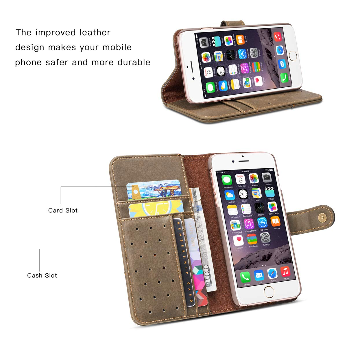 i Phone6Plus 6s Plus Case Wallet Protection Cover PU Flip Shell Card Slot Tripod Soft Leather Protective case for iPhone6 6s