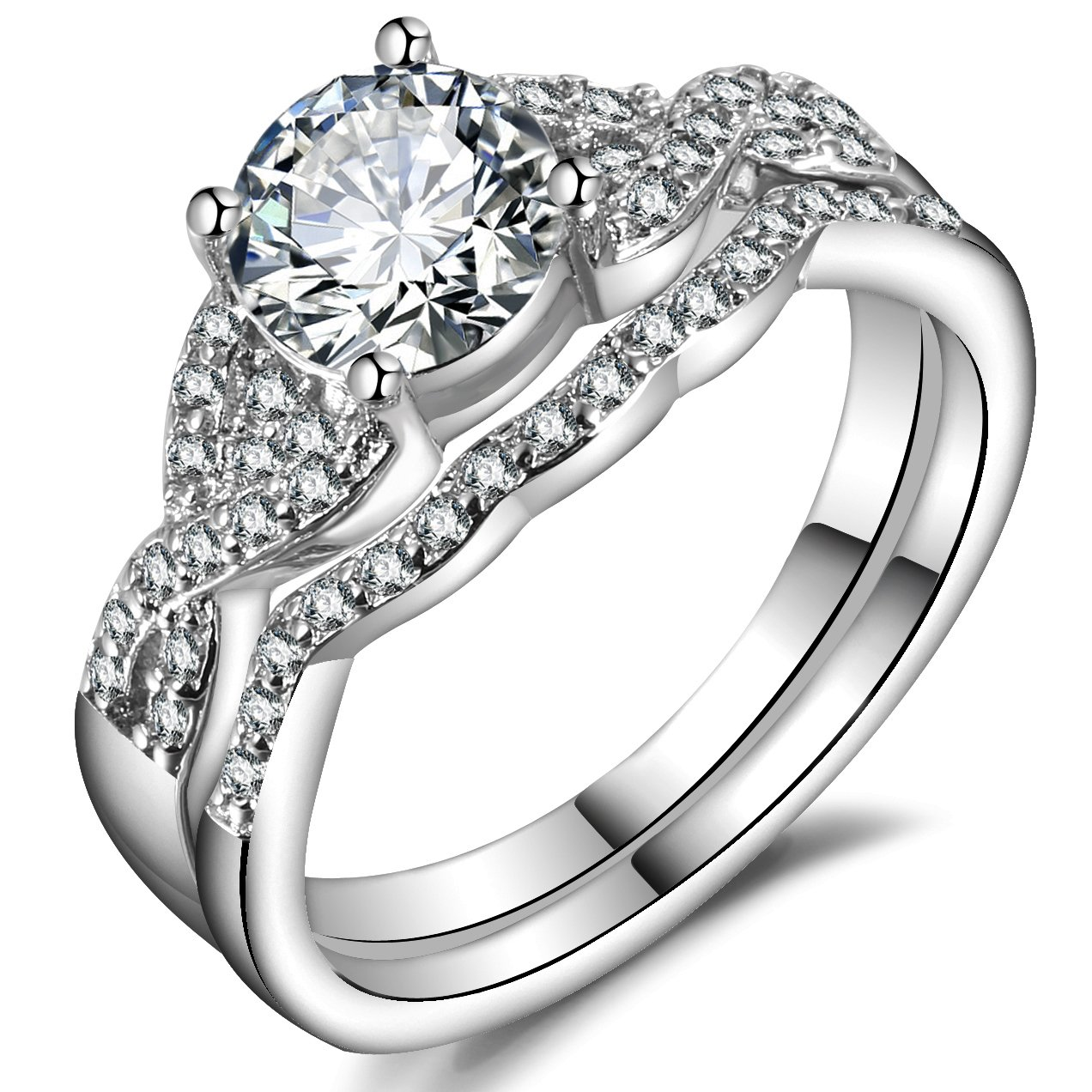 Hiyong Engagement Infinity Stacking Band Rings - Round Cut Cz Bridal Wedding Rings Set for Women Size 6-9 (10)
