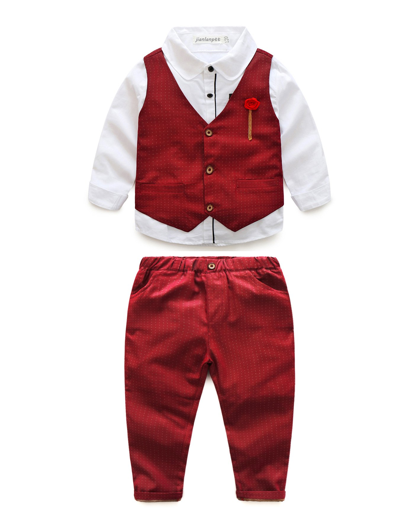 JIANLANPTT Baby Boy Wedding Party Formal Clothing Set Shirt Waistcoat Pants Suit Outfits Red 110