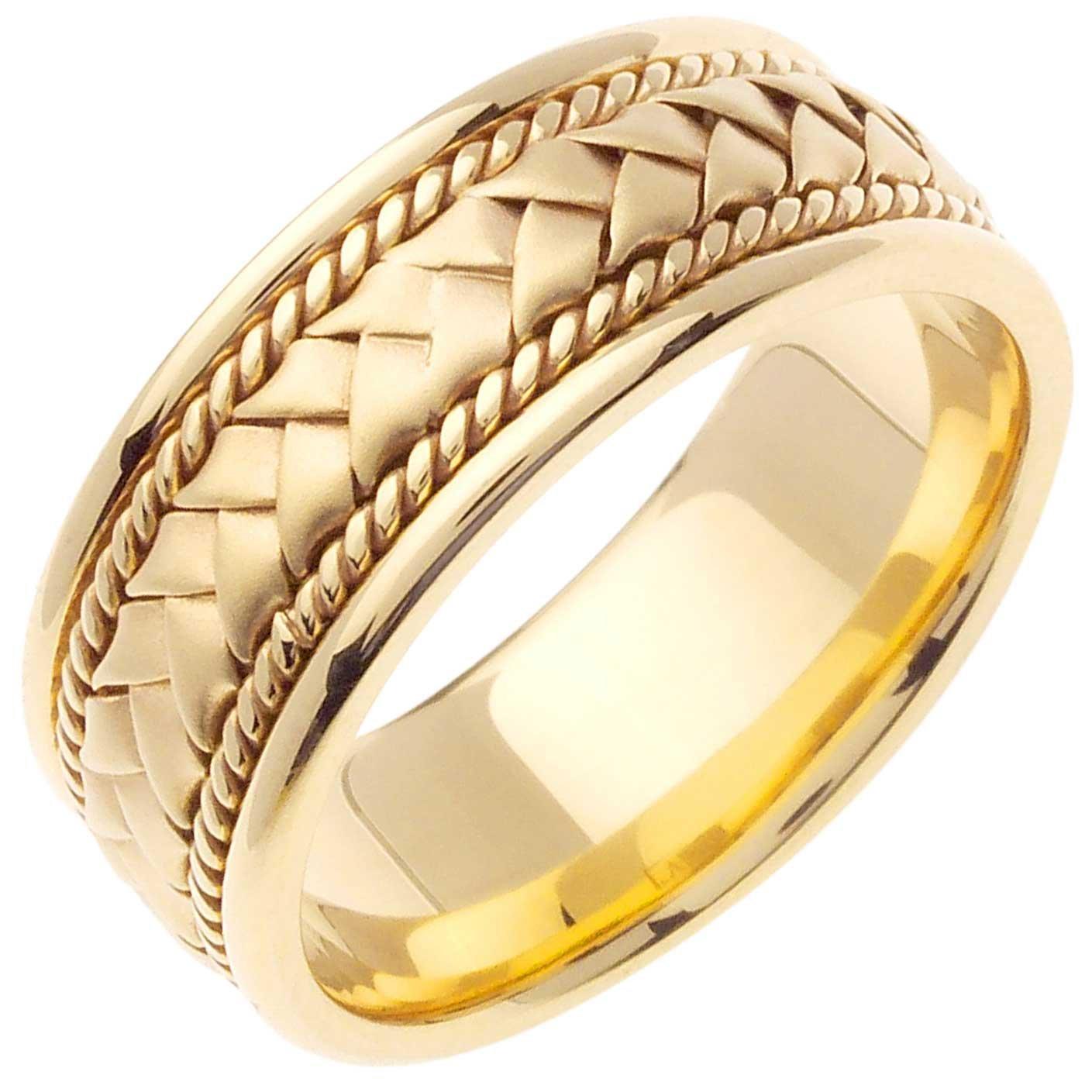 14K Gold Braided Basket Weave Men's Comfort Fit Wedding Band (8.5mm) Size-13c1