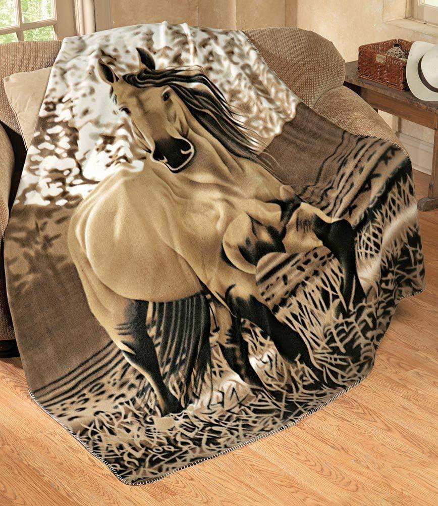 "Western Gallopping Horse Soft Fleece Throw Blanket - Polyester 63""x73"" Oversized"