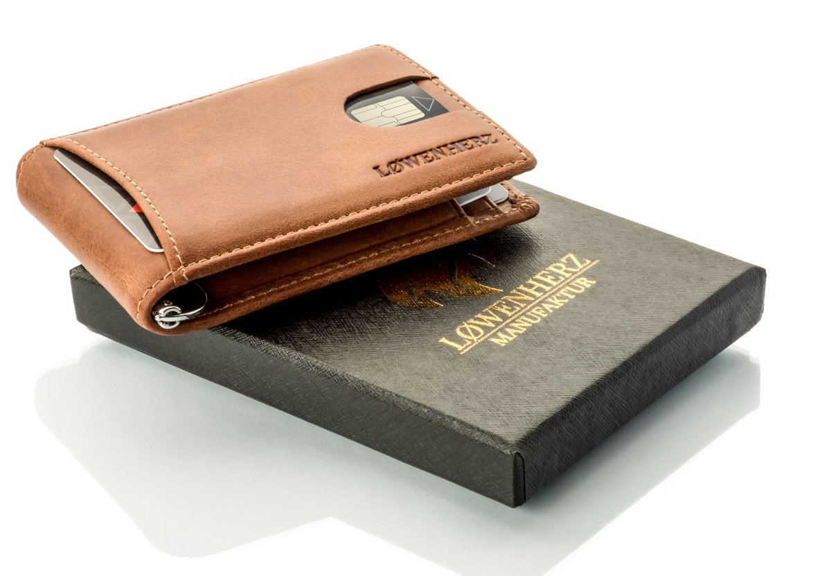L/ØWENHERZ MANUFAKTUR Money Clip Brown Cognac-Braun mit Blauer Lasche S