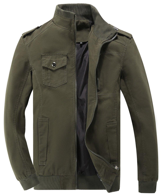 Chouyatou Men's Casual Stand Collar Zip-up Lightweight Bomber Jacket Windbreaker (Medium, 11Army)