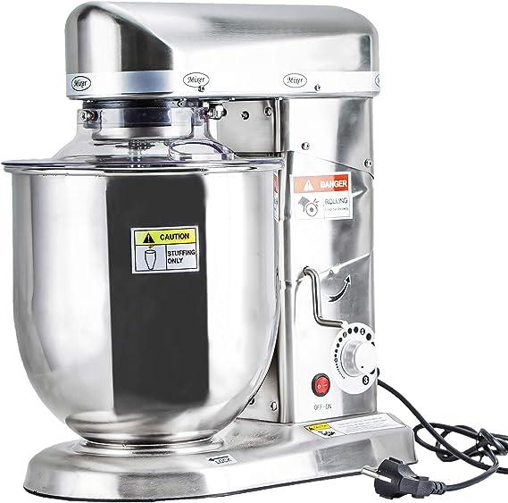 Mezclador de alimentos profesional de 10 litros con soporte eléctrico, mezclador de cocción planetaria, batidor de huevo/tarta/leche, mezclador de masa de acero inoxidable (10 l de acero inoxidable): Amazon.es: Hogar