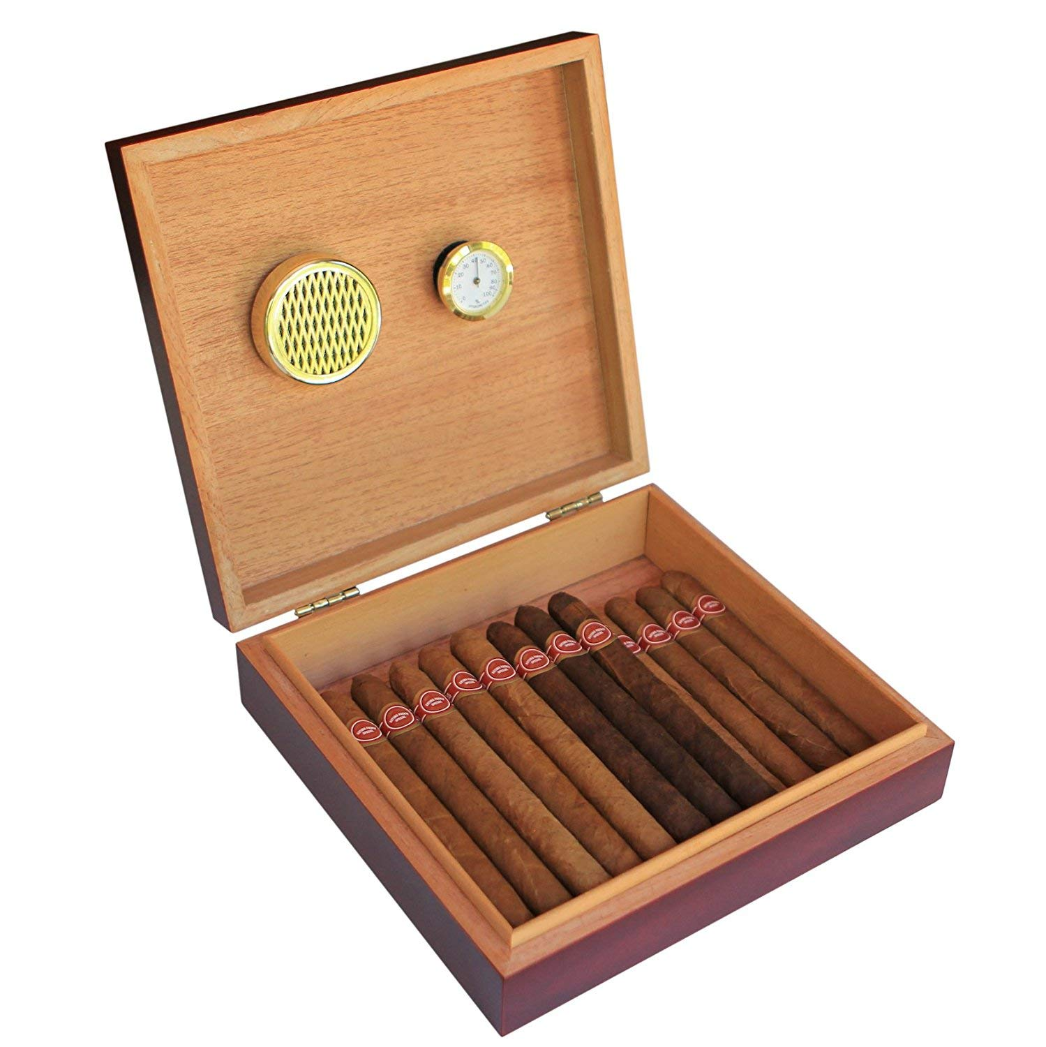 Cherry Finish Spanish Cedar Humidor with Embedded Magnetic Seal