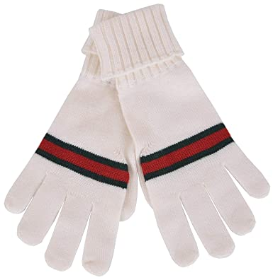 798bc63f88398 Gucci Men s GRG Web White Wool Gloves 294732 9066 at Amazon Men s ...