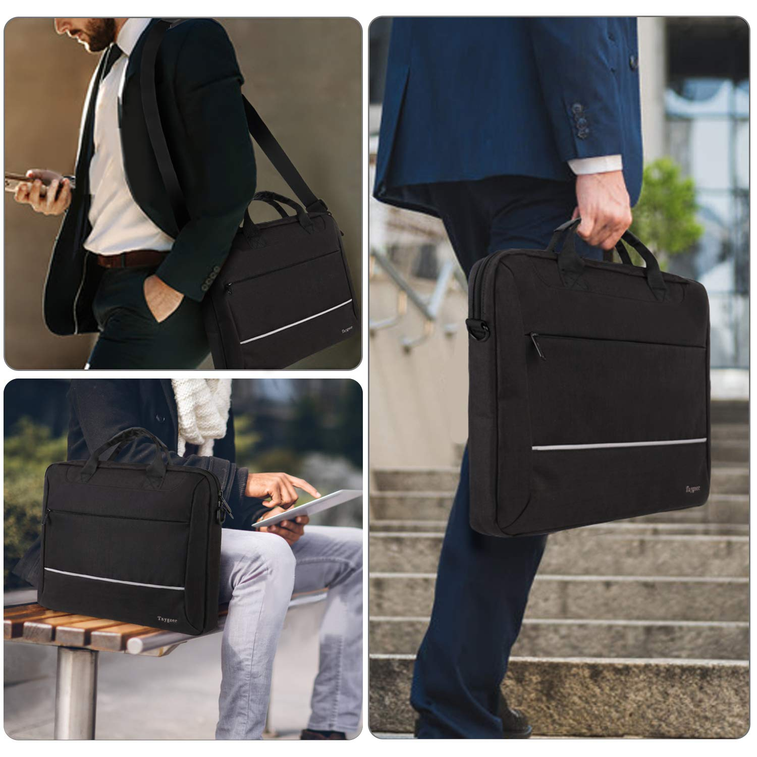 Taygeer Laptop Bag 15.6 inch, Slim Laptop Briefcase for Men Women, Business Portable Carrying Case Computer Shoulder Bag, Tablet Attache Compatible with HP Dell Lenovo Asus Microsoft Surface, Black by Taygeer (Image #7)