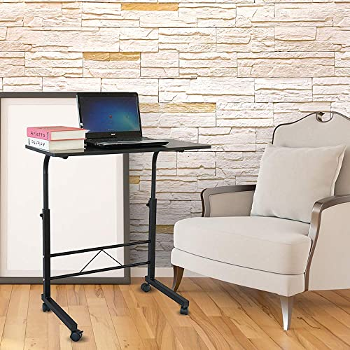 Adjustable TV Tray Mobile Sofa Side End Table Snack Table on Wheels Wooden Top Metal Frame Accent Couch Table C-Shaped Rolling Laptop Desk Cart 31.5 L x 15.75 W
