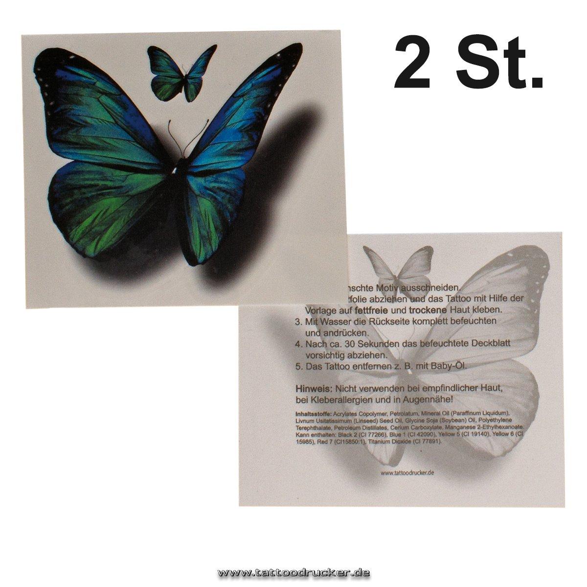 Fabelhaft Tattoo Folie Entfernen Dekoration Von 2 X Colored Butterfly Tattoos In Big