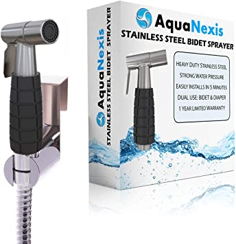 Aqua Nexis Handheld Bidet Sprayer For Toilet With The Only Bidet Grip Also Best For Diaper Bathroom Water Cleaning Stainless Steel Guaranteed Not To Leak Amazon Com