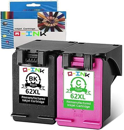 QINK 2 Pack (1BK + 1C) para HP 62XL Cartucho de tinta color negro Alta capacidad Alto rendimiento HP Envy 5640 5540 7640 5544 5546 5646 5542, HP OfficeJet 5740 5742 200: Amazon.es: Oficina y papelería