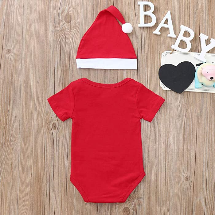 bfd2bf9be BSGSH_Baby Clothes Clearance Sale! Baby Boy Girl Romper My First Christmas  Printed Jumpsuit Onesies Bodysuit with Hat (6-12 Months,Red)