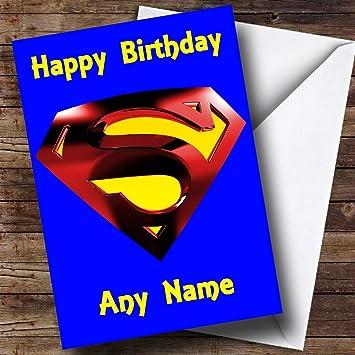 Personalisierte Geburtstagskarte, Blau, Motiv Superman Wappen