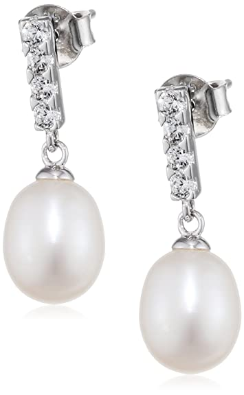 Elements Silver Ladie's White Pearl Sterling Silver Drop Earrings DIOAGy