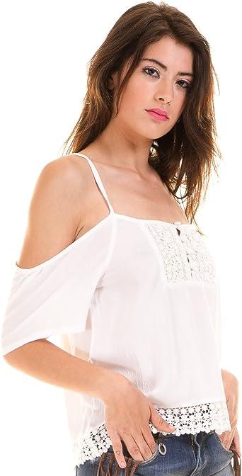 BlendShe Blusa ibicenca Hombros Descubiertos Blanca (XS ...