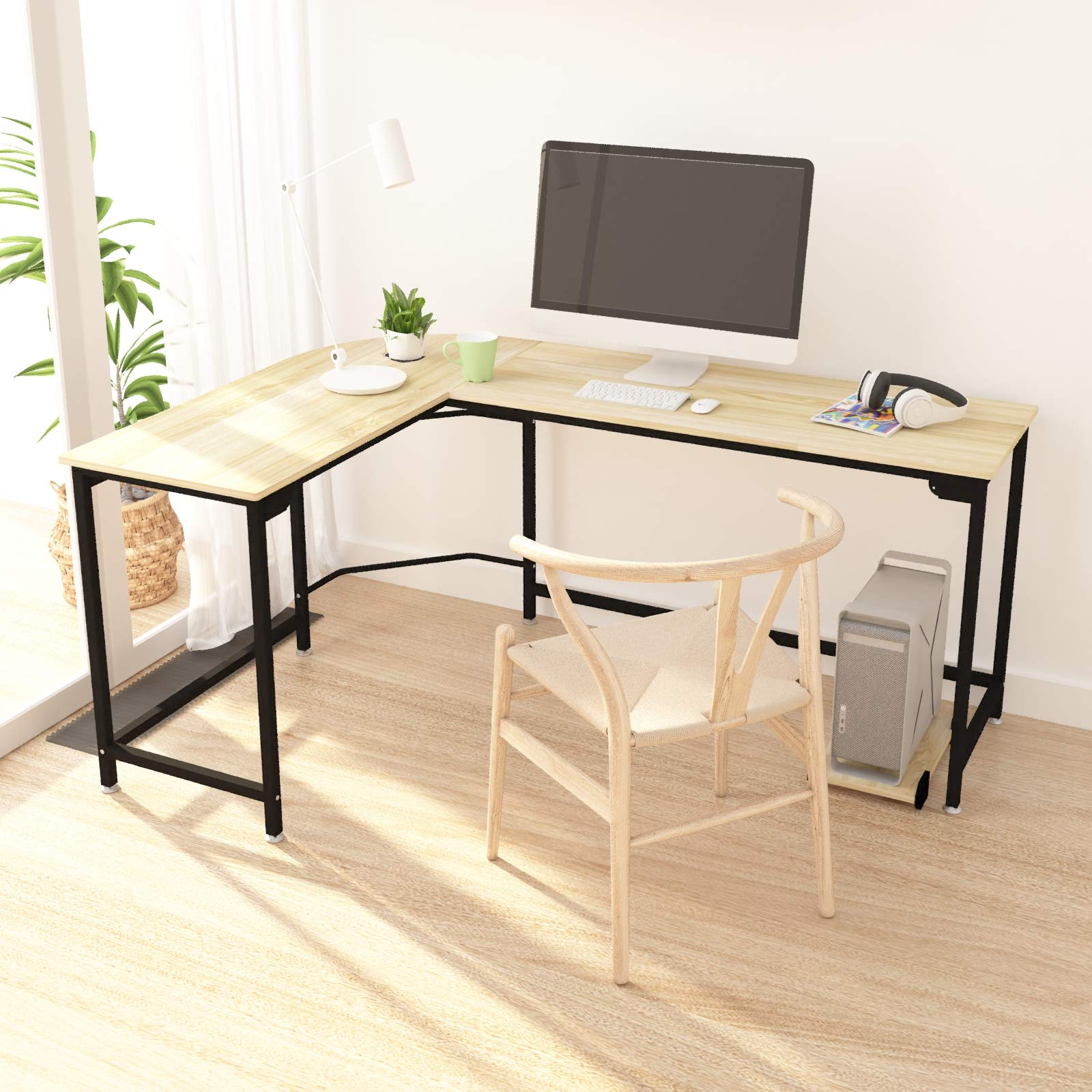 Hago Modern L-Shaped Desk Corner Computer Desk Home Office Study Workstation Wood & Steel PC Laptop Gaming Table by Teraves