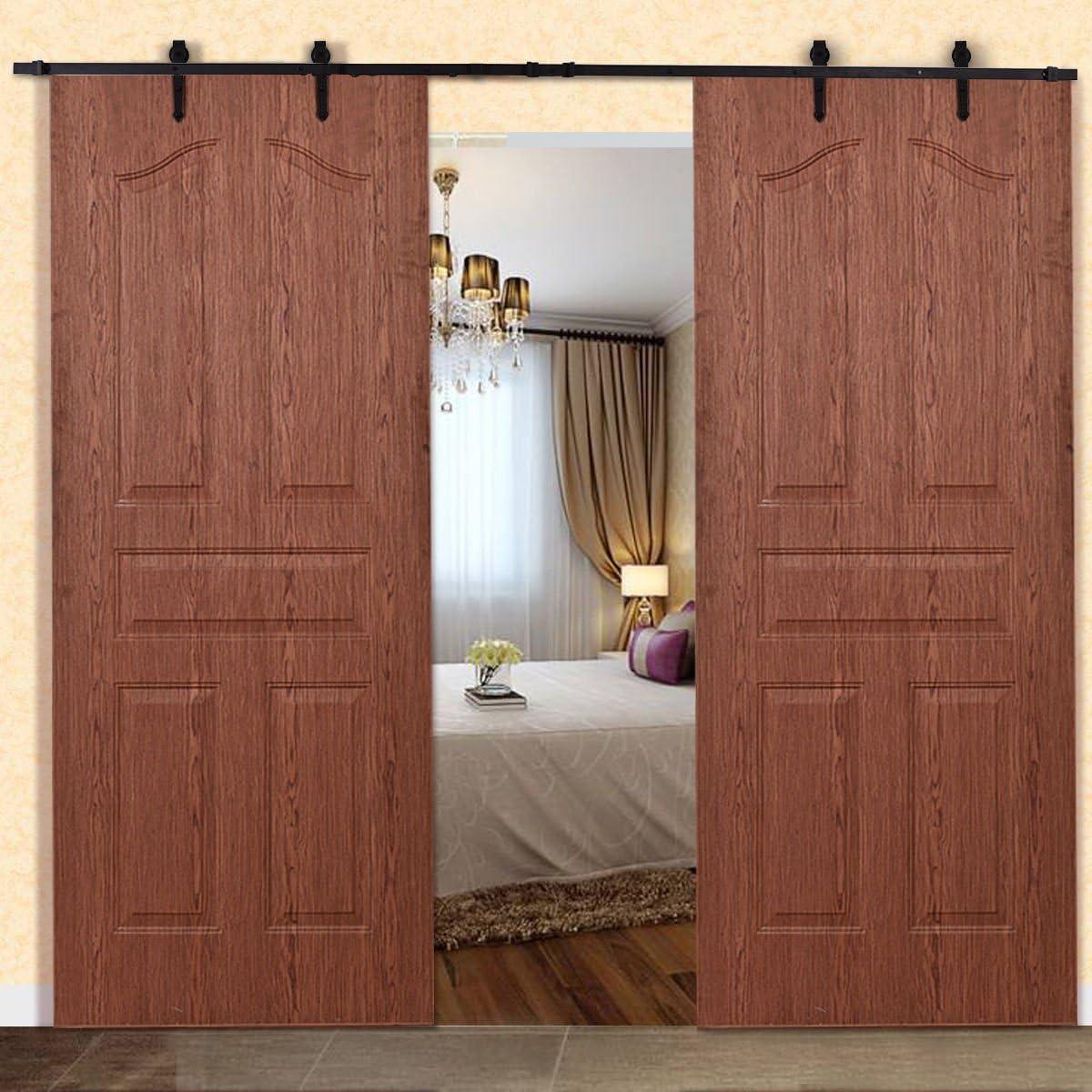 12 FT acero puerta corrediza de granero madera Hardware Kit Sistema de guía rústico Decor negro: Amazon.es: Bricolaje y herramientas