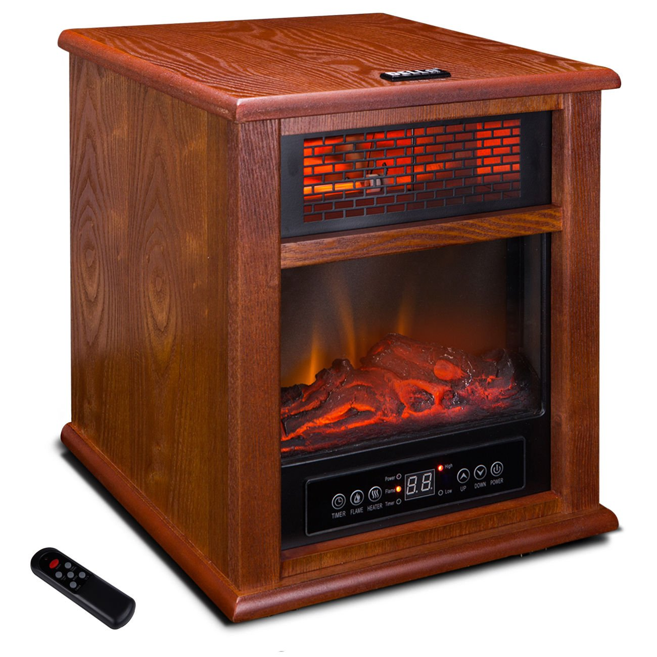 1500W Insert Electric Fireplace Quartz Infrared Heater Flame Caster with Remote + FREE E-Book