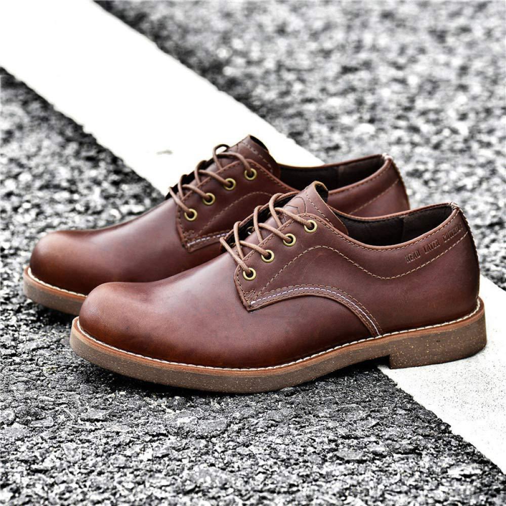 WANG-LONG Schuhe Herren Martin Martin Martin Stiefel Herbst Und Winter Outdoor Casual Tooling Lederschuhe Rutschfeste Mode,Dark-braun-43 b5cb3d
