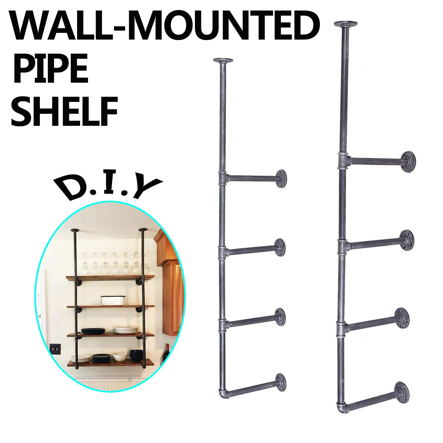MY Furniture Industrial Retro Wall Mount Iron Pipe Shelf Rustic 4 Tiers DIY Home Improvement Bookshelves (2 pcs)